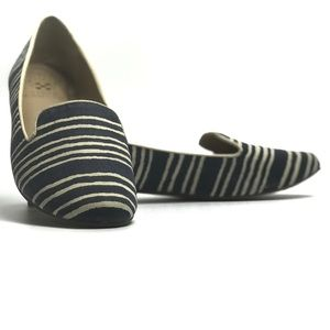Vince Camuto Lilliana Navy Striped Canvas Flats